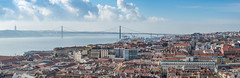 Panoramic view of Lisbon (Portugal) (Ángeles A.) Tags: 25 tagus april architecture blue bridge building capital christ city cityscape colorful downtown europe european historic historical king landmark lisboa lisbon old panorama panoramic portugal portuguese river roof rooftop scenic sky skyline summer tourism traditional travel urban view