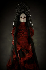 lady red (dolls of milena) Tags: abjd red portrait black vintage dark cherry doll retro resin kokoshnik aishat