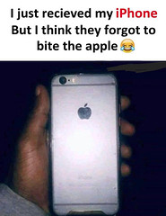 They forgot to bite the apple (gagbee18) Tags: apple aww bite funny funnymemes iphone memes mobile phone