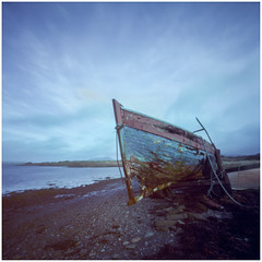Old Boat, Near Portmagee, Co Kerry. (Searcher Irl) Tags: kokakektar100 lerougepinholecamera kerry wildatlanticway boat coast seascape ireland ektar100 mediumformat pinhole camera atlantic ocean ring