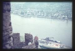 . (Kaïopai°) Tags: vintage 1960er 1960s rhein rhin rhine burg castle burgruine ruine ausblick view hafen kran hafenkran verladung schiff binnenschiff fluss river spay
