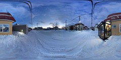 360° Panorama of the Neighborhood Late on a Winter Afternoon (sjrankin) Tags: 25january2020 edited kitahiroshima hokkaido japan panorama neighborhood clouds snow road houses garage lines wires trees cars 360° 360°panorama genkan