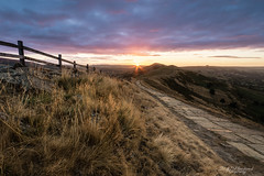Dawn's first kiss (Through_Urizen) Tags: category derbyshire england hdr landscape mamtor places sunrise canon70d canon sigma1020mm outdoor path woodenfence hill valley cloud sunrays sunstar uk unitedkingdom greatbritain landscapephotography