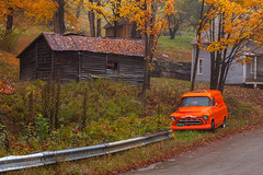 Beautiful Autumn Scene in Vermont (Vermont Fall Foliage) (baddoguy) Tags: antique architecture autumn leaf color beauty in nature building exterior car cold temperature collectors image copy space environment forest horizontal house idyllic land vehicle loneliness memories mode transport nonurban scene nostalgia oldfashioned orange parking photography public park red retro style roadside rural scenics season single object tranquility usa vermont wood material yellow