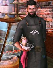 [ 📷 - 299 ] (insociable.sl) Tags: smile bar pub food drink bretzel cake coffee barista bartender barman model beard boy man male edit sl secondlife epron
