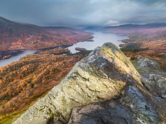 First and only light (Jon_Douglas) Tags: callander scotland unitedkingdom benaan trossach trossachs lochkatrine rock summit hill landscape loch morning grey clouds