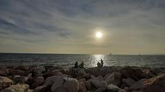Sunset (Love me tender ♪¸.•*´¨´¨*•.♪¸.•*´) Tags: sunset seascape sea streetshot palaiofaliro silhouette sky