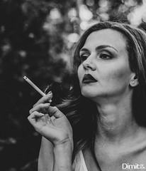 """""""We are addicted to our thoughts. We cannot change anything if we cannot change our thinking."""" ― Santosh Kalwar (Dimitar Dimitroff) Tags: portrait portraits portra bw black white blackandwhite flickr photo people photooftheday photography canon girl girls lady ladies cigarette outside absoluteblackandwhite mono monochrome camera eos"""