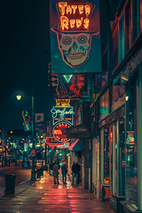 Down on Beale - Memphis Tennessee (Anthony presley) Tags: night city travel usa skyline architecture cityscape view memphis tennessee landmark american street bridge sunset urban tourism america landscape twilight downtown tn dusk blues aerial road music river mississippi lights evening place district famous scenic scene location business southern avenue sky signs rain modern buildings neon south transportation anthony clubs presley financial beale anthonypresley anime bladerunner lofi cyberpunk