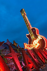 Twilight at the Neon Museum (MichellePhotos2) Tags: twilight neonmuseum neon museum vegas lasvegas nevada iphone historic sign art culture hardrockcafe guitar riviera stardust bluehour light lights collection boneyard