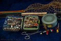 Trout Fishing Gear_50 (pixquik) Tags: fishinggear trout fly flyfishing troutfishing poppers net reel stilllife still funphoto