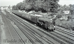 """30911 """"Dover"""" Bromley South June 1958 Copyright Waddo Rail Archive Collection SS51 (Waddo's World of Railways) Tags: 30911 30911dover schoolsclass schoolsclass30911 schoolsclass30911dover bromleysouth srsteam southernsteam june1958 50s 1950s schoolsclasslocomotive sr br bromleysouthstation station rail railway train locomotive steam"""