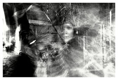oniric presence (MarcoBertarelli) Tags: oniric sony zeiss composition long time slow speed shutter play light dark monochrome monochromatic bw abstract face woman flash