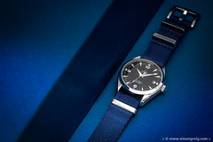 Omega Railmaster 39mm (Simon Greig Photo) Tags: blue closeup macro nato omega railmaster studio swiss timepiece watch