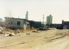 Former Milwaukee Road Division Street Yard Office Cherry Street Goose Island Chicago February 29 1988 (Tom J. Burke) Tags: gooseisland divisionstreetyard chicago train milwaukeeroad office railroad soo