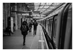 FILM - Off the Tube (fishyfish_arcade) Tags: 35mm analogphotography bw blackwhite filmphotography filmisnotdead istillshootfilm kentmere400 monochrome pentaxespio140m analogcamera compact film mono londonunderground london streetphotography