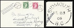 British Columbia / B.C. Postal History - 23 February 1966 - SIDMOUTH, B.C. (split ring / broken circle cancel / postmark) to Penticton, B.C. - redirected to Prince George, B.C. (Treasures from the Past) Tags: circulardatestamp postalwayoffice postmaster postoffice britishcolumbia postalhistory bc county splitring brokencircle splitcircle postmark cancel cancellation marking son mail letter stamp canada britishcolumbiapostalhistory canadapost sidmouth sidmouthpostoffice normandarcy jeannettemargaretnewell jeanettedarcy