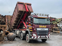 """Scrapyard traffic (Mark Schofield @ JB Schofield) Tags: huddersfield """"jb schofield"""" """"metal merchants"""" recyclers recycling recyclers"""" steel copper """"schofield huddersfield"""" hooklift hookloader scraphandler sennebogen scrap scrapyard yard metal processor merchant cast iron schofield linthwaite 825e 830e road transport haulage freight truck wagon lorry commercial vehicle hgv lgv haulier contractor"""