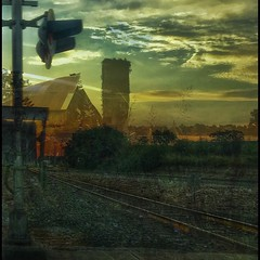 Going home.... (Sherrianne100) Tags: doubleexposure memories railroadtracks barn home