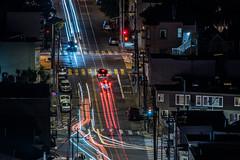 midnight traffic on 30th street (pbo31) Tags: bayarea california nikon d810 night january 2020 boury pbo31 winter dark color black bernalheights over lightstream traffic motion roadway sanfrancisco city urban blur