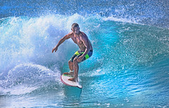 Surfer (ashockenberry) Tags: surfer oahu banzai pipeline beautiful aqua blue green waves ocean surf sand travel destination tourist tourism hawaii surfing sport surfboard pacific tide nature sea outdoor competition balance man foam
