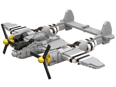P-38 Lightning Yellow Tips (dreki.bryni) Tags: wwii moc afol military lego aircraft fighter