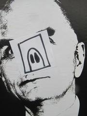 Pig Nose Guy (Quetzalcoatl002) Tags: sticker art streetart amsterdam pig guy bw suspicious