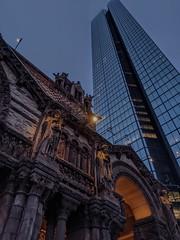 Evening Juxtaposition (dailyinvention) Tags: trinitychurch boston buildings nightshot darkness