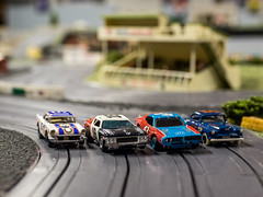 RRR Chevrolet, Aurora Matador, Tyco Petty racer, and a MEV Fairgrounds car, all painted by others (brooklandsspeedway) Tags: ho hoscale models slotcars miniature