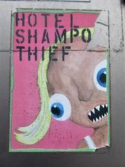 Hotel Shampoo Thief (Quetzalcoatl002) Tags: sticker thief eek shampoo hotelshampoo stickerart streetart closeup amsterdam