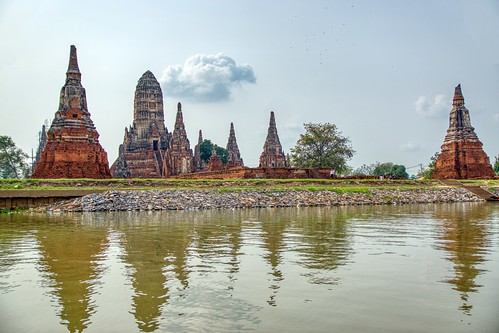 Wat Chai Watthanaram by the Chao Phraya river in Ayutthaya, Thailand