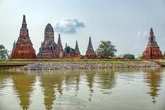 Wat Chai Watthanaram by the Chao Phraya river in Ayutthaya, Thailand (UweBKK (α 77 on )) Tags: wat chai watthanaram chao phraya river stream water flow reflection ayutthaya thailand southeast asia sony alpha 77 slt dslr temple historic history ancient stupa chedi