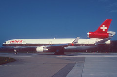 Swissair MD-11; HB-IWE, October 1992 (Aero Icarus) Tags: slidescan plane avion aircraft flugzeug