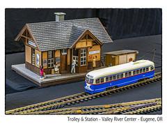 Trolley & Station (NoJuan) Tags: modelrailroad hoguage microfourthirds micro43 mirrorless m43 mft olympuspenf penf 425mm panasonic425mm valleyrivercenter modeltrolley
