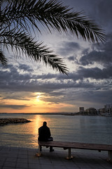 Spain in January (Vest der ute) Tags: g7xm2 g7xll spain sea sunset man silhouettes buildings sky clouds