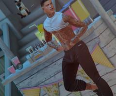 # 00201 (Leon Miranda) Tags: backdrop crystal lemonade spot blue pose solo mansport noah 4 beer crystona crate bento mom crop top thirst v2 sweat pant jockd vpl sweats tattoo vegas applier hard times