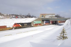CN 3823 (Michael Berry Railfan) Tags: cn canadiannational train cn120 intermodaltrain intermodal stacktrain doublestacks montrealsub montreal winter snow cn3823 ge generalelectric gevo es44ac dpu