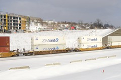 ZIMonitor containers (Michael Berry Railfan) Tags: cn canadiannational train cn120 intermodaltrain intermodal stacktrain doublestacks montrealsub montreal winter snow