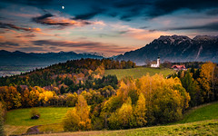 Autumn in the Alps (gregor158) Tags: alps clouds autumn fall church germany europe deutschland travel landscape places mountain mountains tree trees