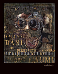 Detailed Panel - Conversation with the Muse (jimlaskowicz) Tags: painterly art clock mannequin vintage typography mask mechanical artistic time text surreal muse textures aged gears distressed impressionistic whimsical steampunk jimlaskowicz stars panel heart moon