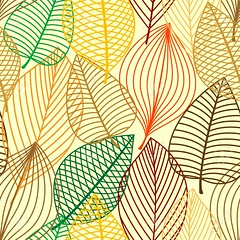 Colorful autumnal outline leaves seamless pattern (khaleeristormborn) Tags: autumn autumnal seamless outline pattern fall leaf ornament green orange yellow brown vector nature foliage tree bush leaflet abstract texture retro wallpaper fabric background design seasonal park forest birch plant decoration garden natural silhouette backdrop flora element tile