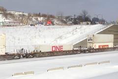 ONE container (Michael Berry Railfan) Tags: cn canadiannational train cn120 intermodaltrain intermodal stacktrain doublestacks montrealsub montreal winter snow