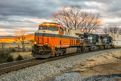 20-401 (George Hamlin) Tags: virginia front royal woods railroad freight train intermodal norfok southern railway ns 214 twilight sunset bare trees winter golden glow countryside rural double stack containers clouds colorful photodecor george hamlin photography