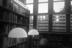 Spaceships in Fog (timmerschester) Tags: window library lights globe shelves books cranbrook michigan foggedlensfromcoldoutsideandgoingintoawarmbuilding monochrome nikond3500 digital
