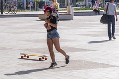 Surfing the Ode (wandering tattler) Tags: girl skateboard shorts dancer perform city helsinki finland scandinavia 2019