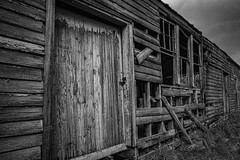Out Of Work (gecko47) Tags: building farm shed dilapidated appleshed horticulture decay timber tasmania huonvalley bw monochrome textures structure frames boards