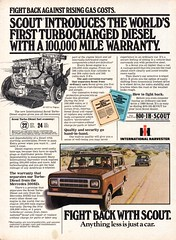 1980 International Harvester Scout Turbo Diesel 4WD Wagon USA Original Magazine Advertisement (Darren Marlow) Tags: 1 4 8 9 19 80 1980 i international h harvester s scout 4wd d diesel w wagon t turbo c car cool collectible collectors classic a automobile v vehicle u us usa unitedstates american america 80s
