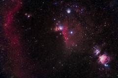 Orion's Belt (Christoph Wenzel) Tags: orionnebel night flammennebel barnardsloop sonysel70200mmf28gmaster winter sonyalpha6000 demairansnebel pferdekopfnebel farben sky darkness orion orionsgürtel deepsky astro neuhausamrennweg thüringen deutschland astrometrydotnet:id=nova3915999 astrometrydotnet:status=solved