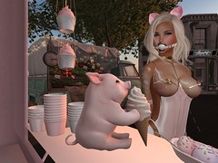 Kitty And Piglet At The Ice Cream Stand (Cherie Langer) Tags: icecream kitty piglet bdsm ds fantasy latex ballgag