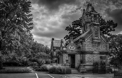 Historic Office and Main Gate at Spring Grove Cemetery & Arboretum (donnieking1811) Tags: ohio cincinnati springgrovecemeteryarboretum architecture building gate stone signs exterior outdoors sky clouds trees sidewalks blackwhite blackandwhite bw monochrome hdr canon 60d lightroom photomatixpro